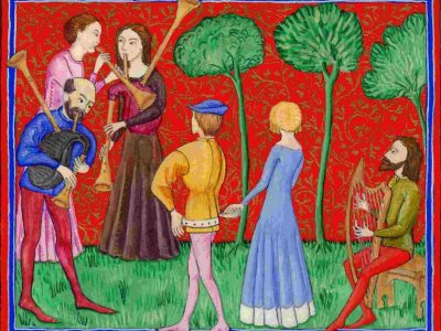 A painting of medieval people