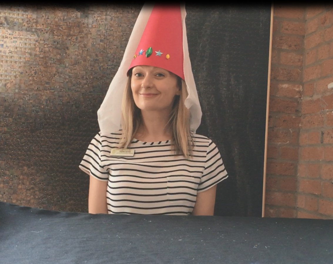 A woman in a hat