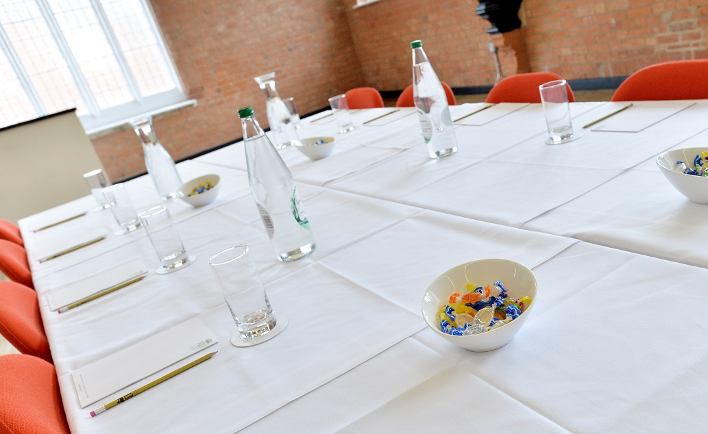 A table set for a meeting