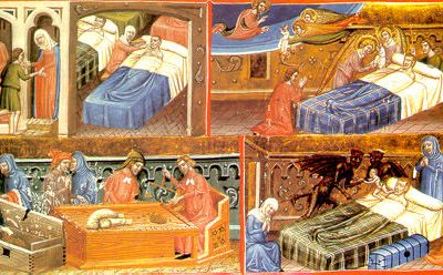 An illustration of a medieval infirmary