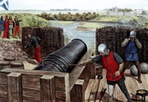 An illustration of a medieval cannon being fired