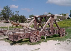 A large-scale wooden catapult