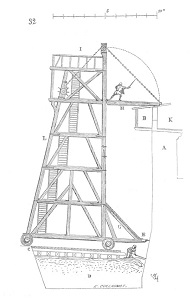 An illustration of a wooden siege tower